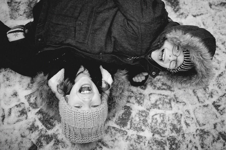 Séance amitié en hiver à l'extérieur